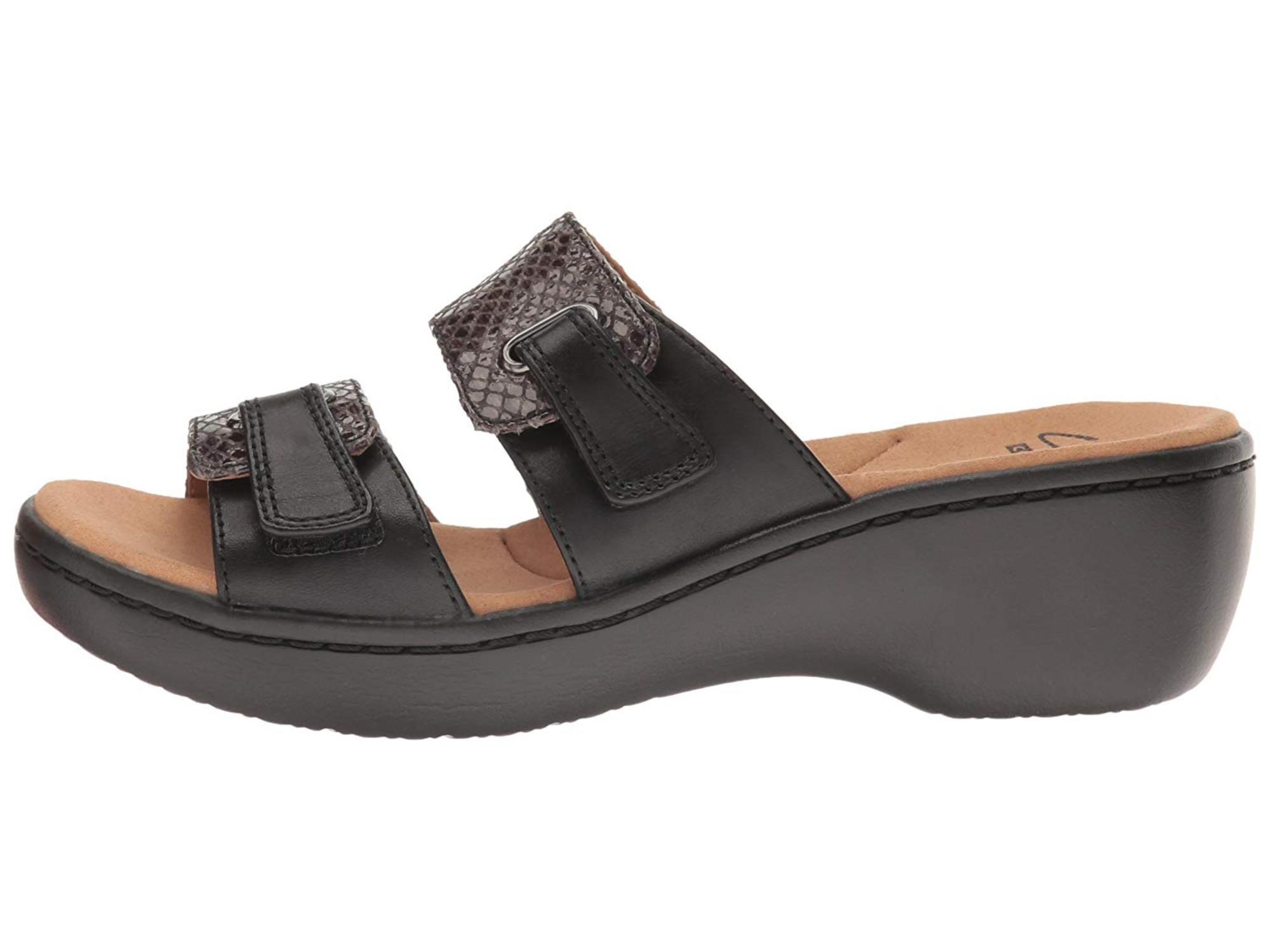 fe08d08cebfe Clarks Womens Delana Fenela Leather Open Toe Casual Slide