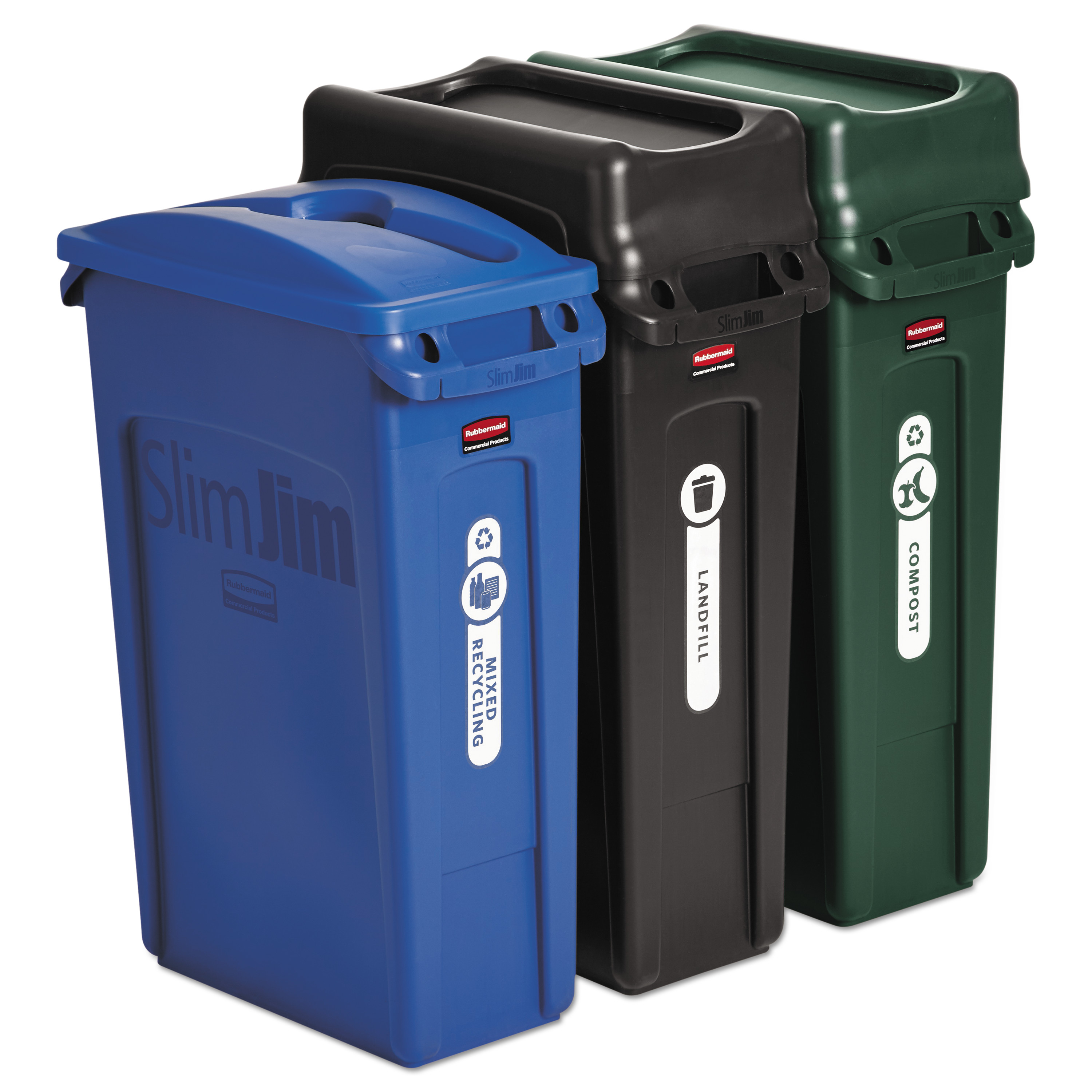 Rubbermaid Commercial Slim Jim Recycling Container, Rectangular, 23 gal, Black/Blue/Green