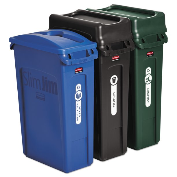 Rubbermaid Commercial Slim Jim Recycling Container Rectangular 23 Gal Black Blue Green Walmart Com Walmart Com