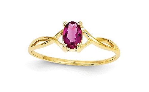10K Yellow Gold Genuine Pink Tourmaline October Birthstone Ring by QGold