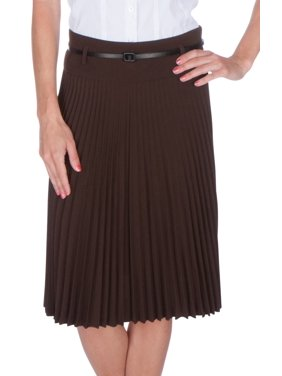 86cb54df76da Free shipping. Product Image Sakkas Knee Length Pleated A-Line Skirt with  Skinny Belt - Light Beige - Small