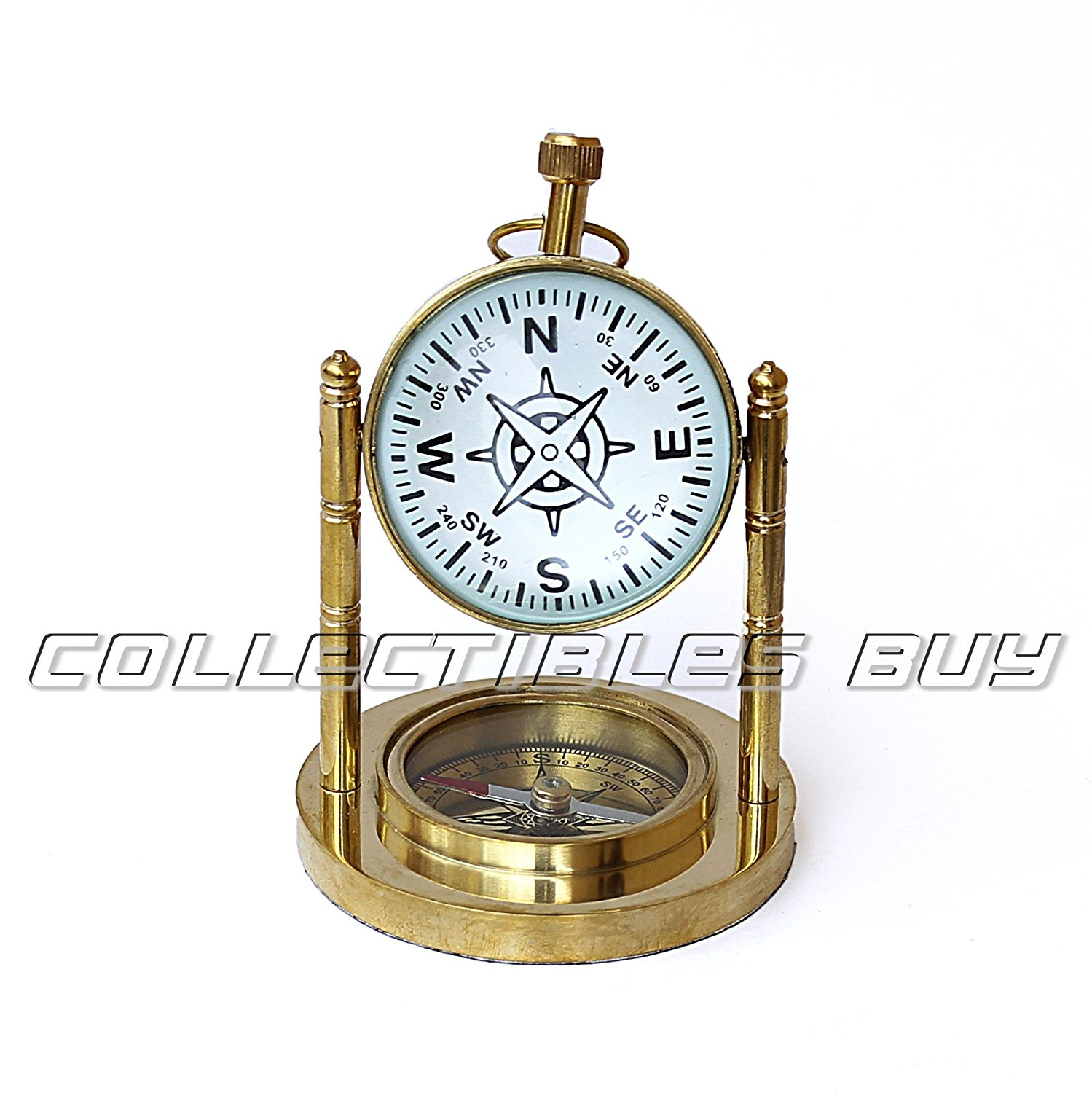 Nautical Compass With Marine Antique Desk Clock Vintage Collection study table clock and compass Vintage Ornament Movie prop