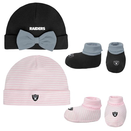 Knit Newborn Booties - Girls Newborn & Infant Black/Pink Oakland Raiders Cuffed Knit Hat & Booties Set - Newborn