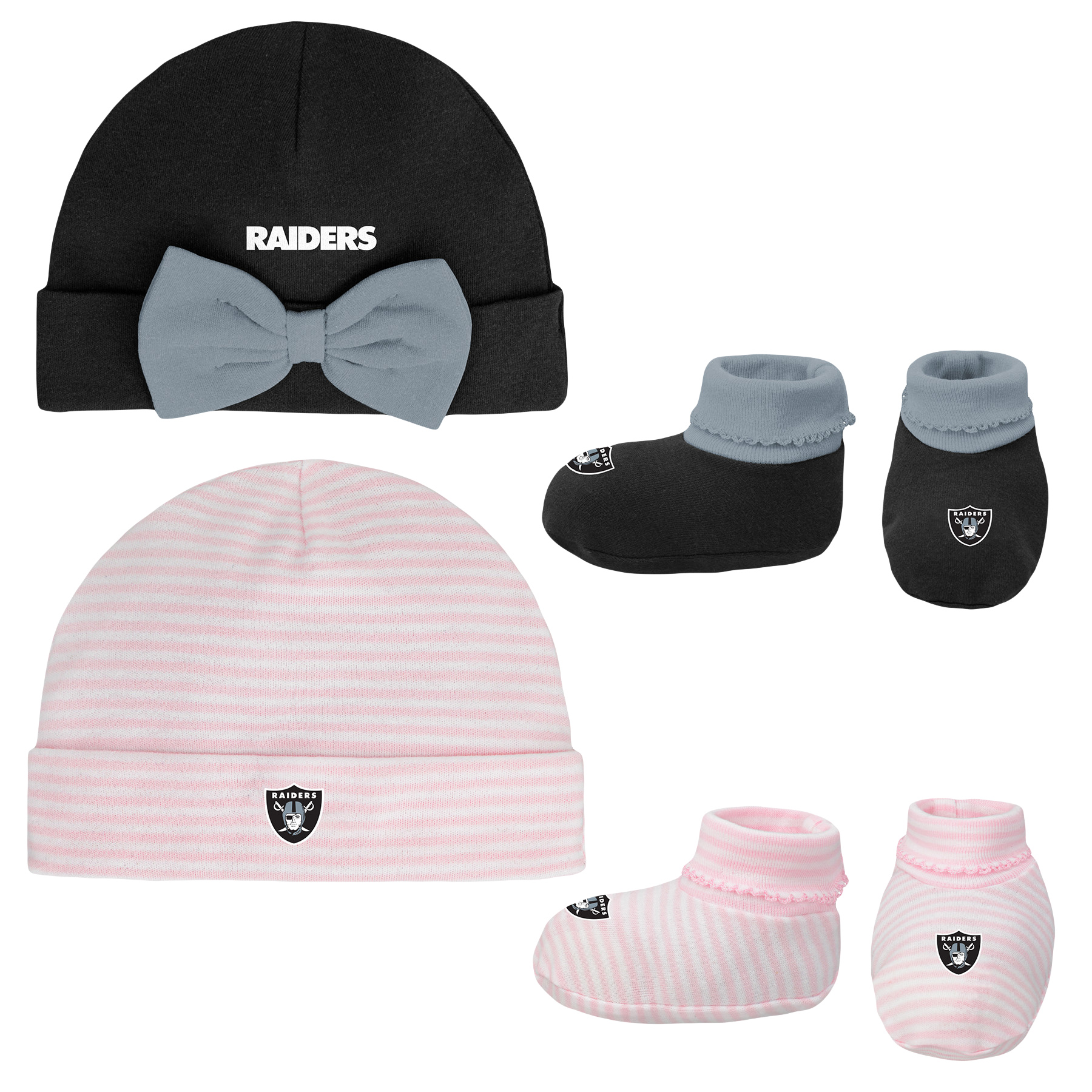 Girls Newborn & Infant Black/Pink Oakland Raiders Cuffed Knit Hat & Booties Set - Newborn