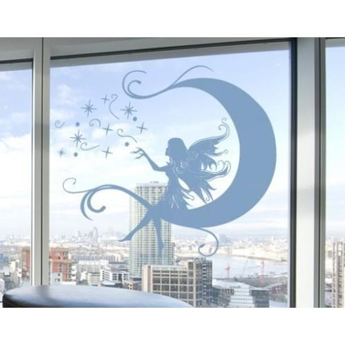 Style and Apply Moon Fairy Window Glass Decal Vinyl Wall Art Home Decor