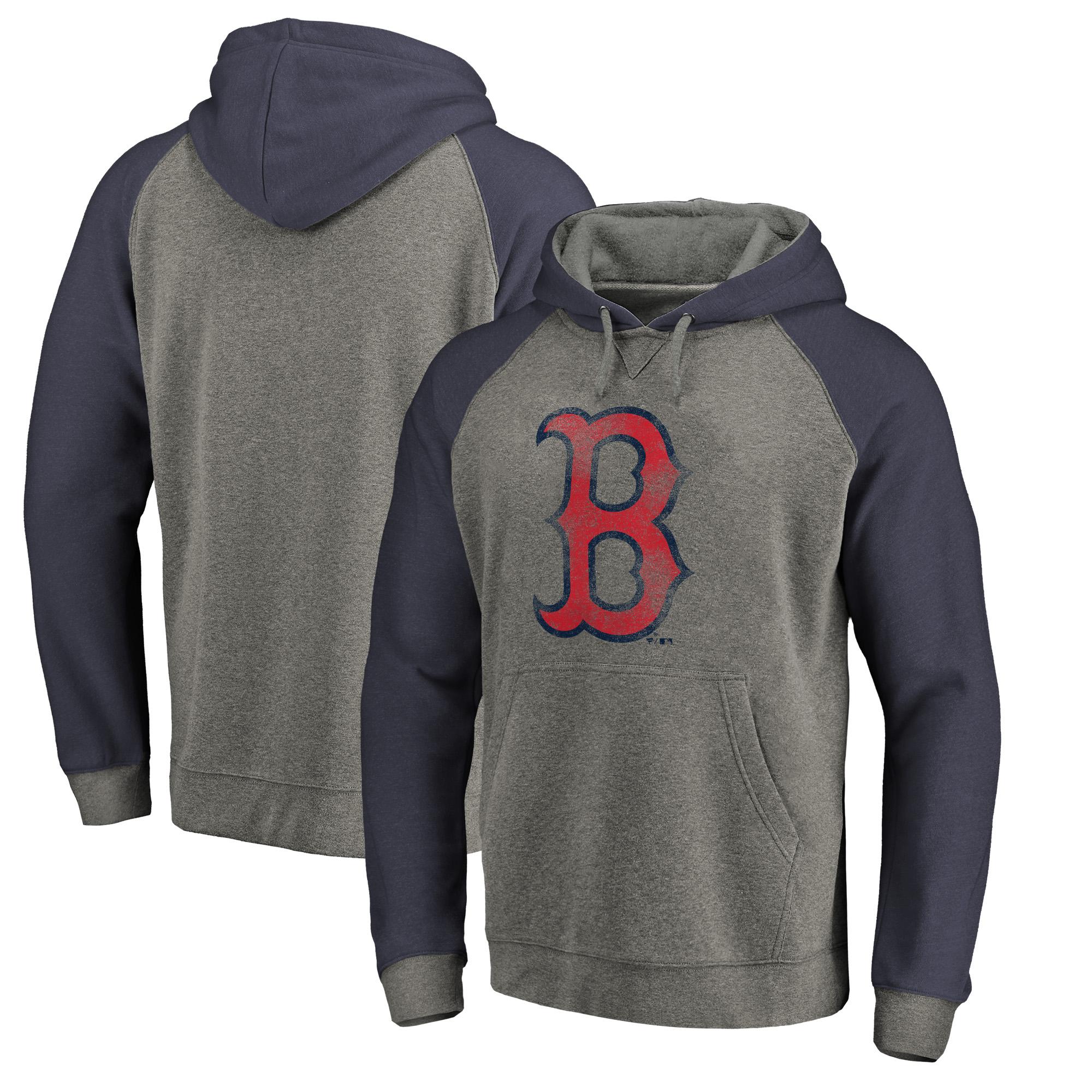 Boston Red Sox Fanatics Branded Distressed Team Logo Tri-Blend Big & Tall Raglan Pullover Hoodie - Gray/Navy