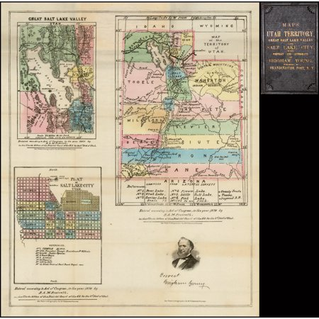 LAMINATED POSTER Map of the Territory of Utah [with] Great Salt Lake Valley [with] Plat of Salt Lake City Utah POSTER PRINT 24 x