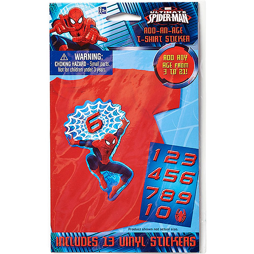 Spider-Man Birthday T-Shirt Sticker Pack, Party Supplies