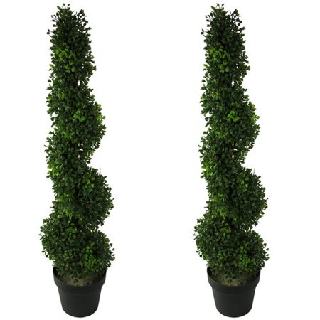 Admired by Nature Artificial Boxwood Leaf Spiral Topiary Tree in Pot (Set of 2)