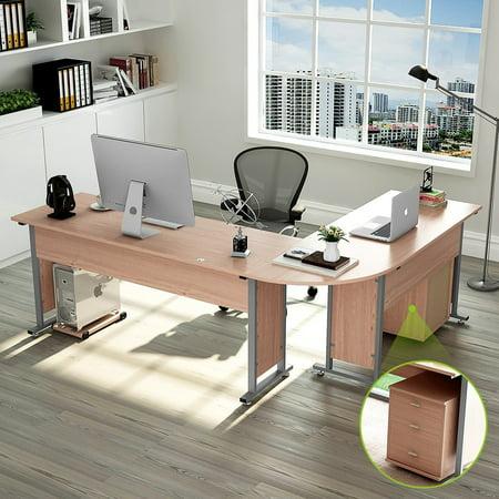 """Tribesigns Large Modern L-Shaped Desk, 87"""" Corner Computer Desk Study Table Workstation Wood & Metal with Cabinet, Salt Oak"""