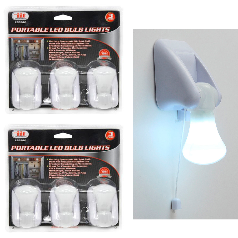 6 Pk Portable LED Bulb Cabinet Lamp Night Light Battery Self Adhesive Wall Mount