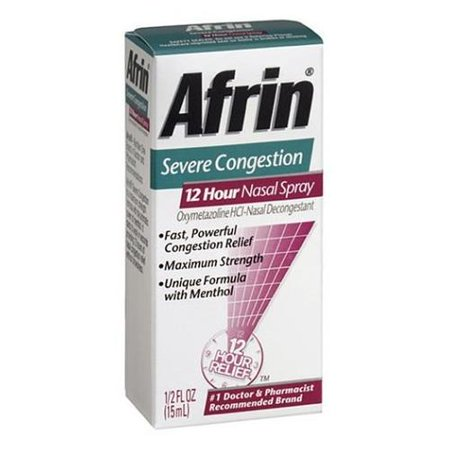 5 Pack AFRIN NASAL SPRAY SEVERE CONGESTION 12 HOUR RELIEF FAST POWERFUL 0.5 (Best Way To Clear Nasal Congestion Fast)