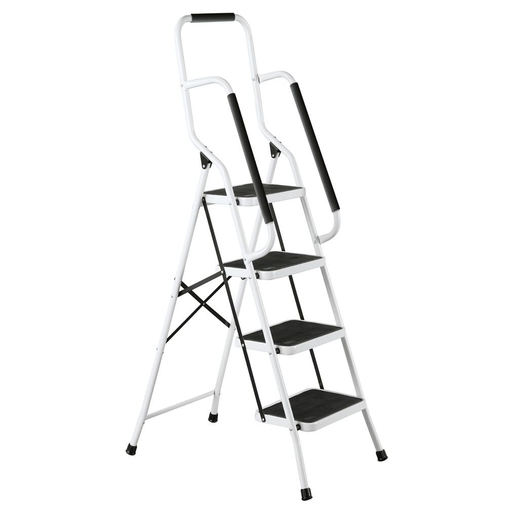 Four Step Safety Ladder With Grips 62 1 2 H White