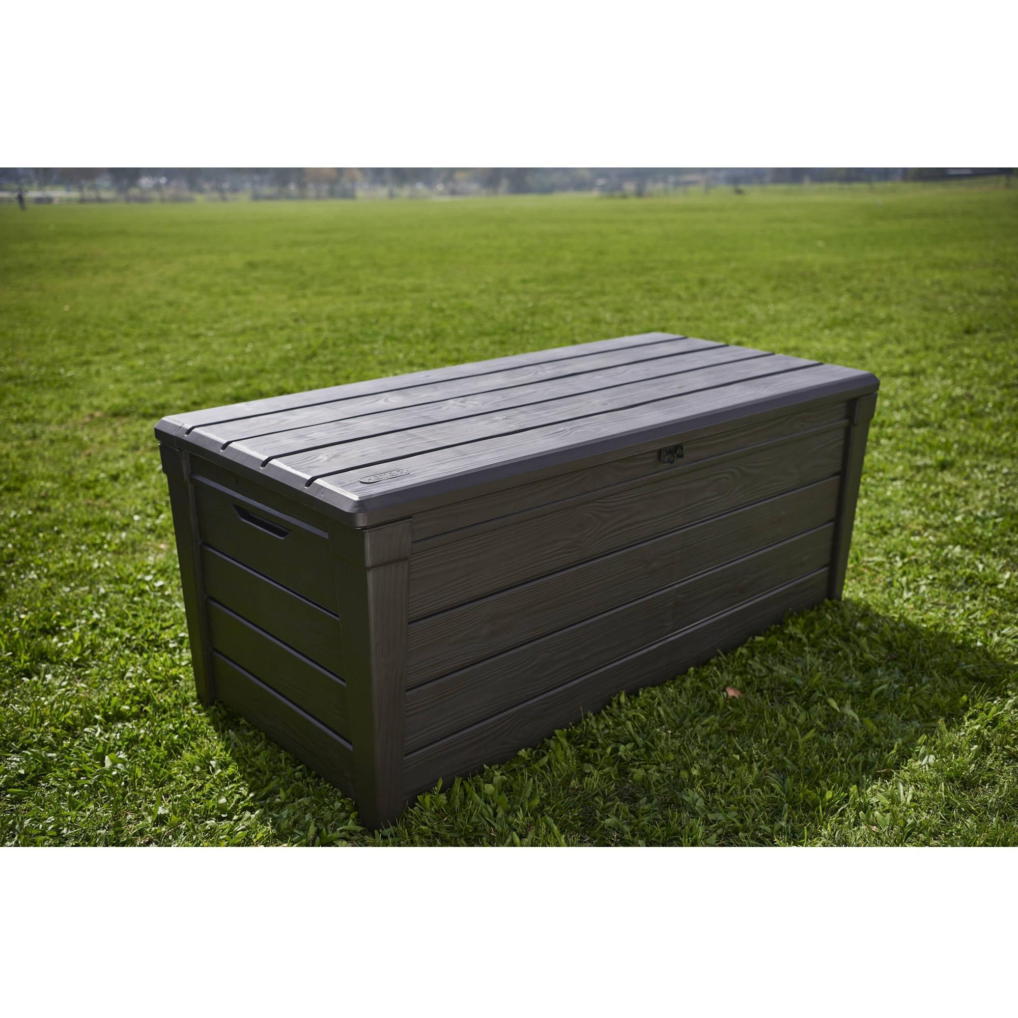 bench brand box boxes lid rubbermaid c split deck storage