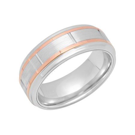 Men's Cobalt Rose Gold Tone Striped Wedding Band - Mens Ring