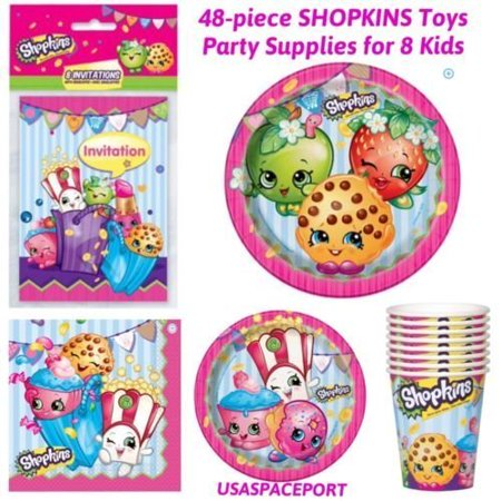 48p 2016 Shopkins BIRTHDAY PARTY SUPPLIES KIT for 8 Kids PLATES+CUPS+INVITATIONS