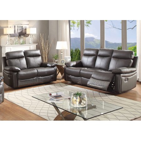 - Ryker Collection Contemporary 2-Piece Upholstered Leather Living Room Set with Reclining Sofa and Loveseat, Dark Brown