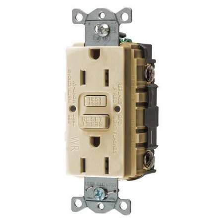 GFCI Rceptcle,Commer.,Ivry,15A,0.5 HP HUBBELL WIRING DEVICE-KELLEMS on