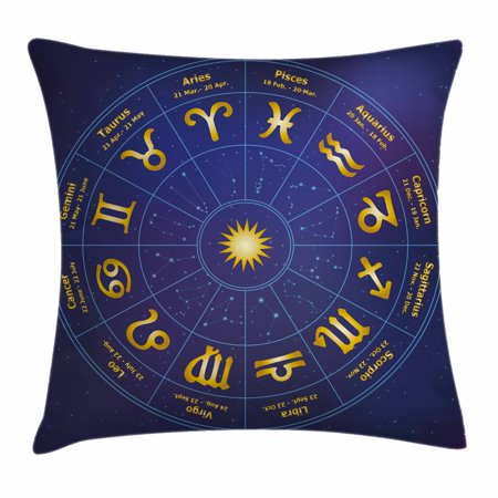 Astrology Throw Pillow Cushion Cover, Horoscope Zodiac Signs with Birth Dates in Circle with Star Dots Print, Decorative Square Accent Pillow Case, 18 X 18 Inches, Royal Blue and Yellow, by (Horoscope By Date Of Birth Time And Place)