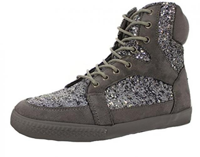 Amiana Women's High Top Suede 35 Sneaker, Grey Pewter Glitter, 35 Suede EU / 4 US b259b4