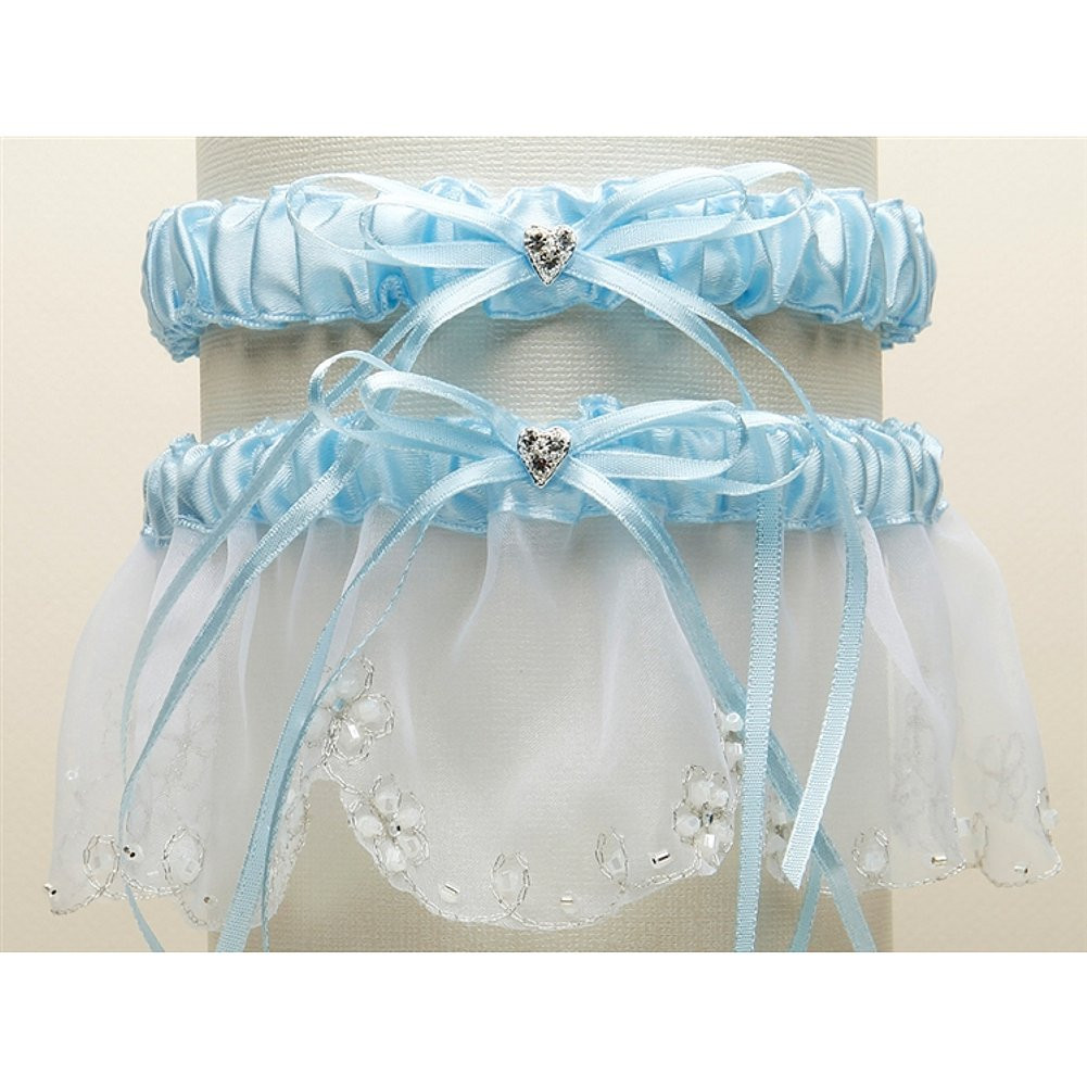 Bridal Garter Set with Inlaid Crystal Hearts - White with Blue