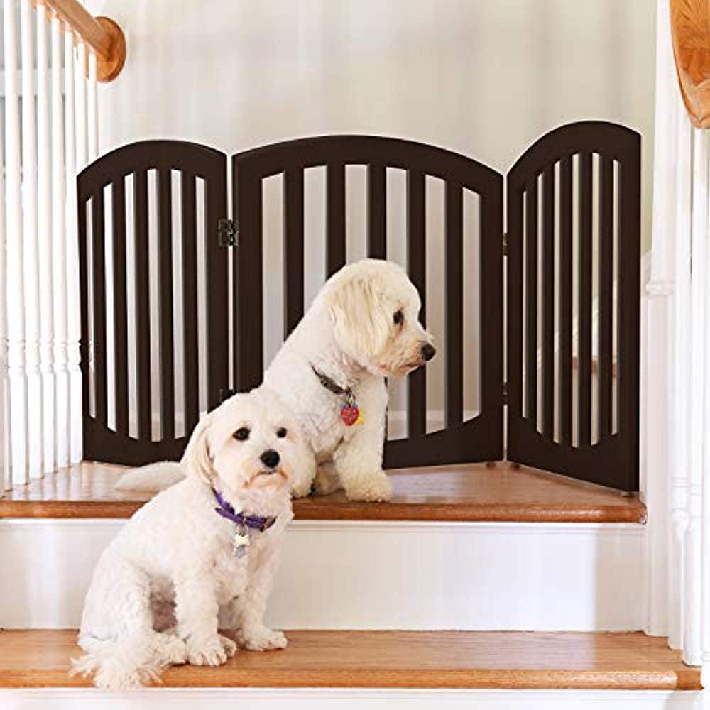Arf pets Free standing Wood Dog Gate, Step Over Pet Fence, Foldable, Adjustable - Espresso - image 5 de 5