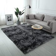 Soft Comfy Dark Grey Area Rugs for Bedroom Living Room, Fluffy Shag Fur Carpet for Kids Nursery Plush Shaggy Rug Fuzzy Decorative Floor Rugs Contemporary Luxury Large Accent Rug