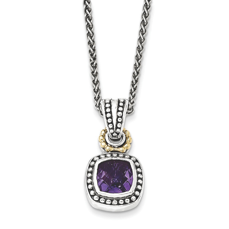 Sterling Silver w 14k Antiqued Amethyst Necklace by Kevin Jewelers