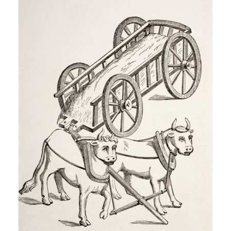 Cart Drawn By Oxen 15Th Century From Les Artes Au Moyen Age Published Paris 1873 Canvas Art - Ken Welsh Design Pics (26 x 32)