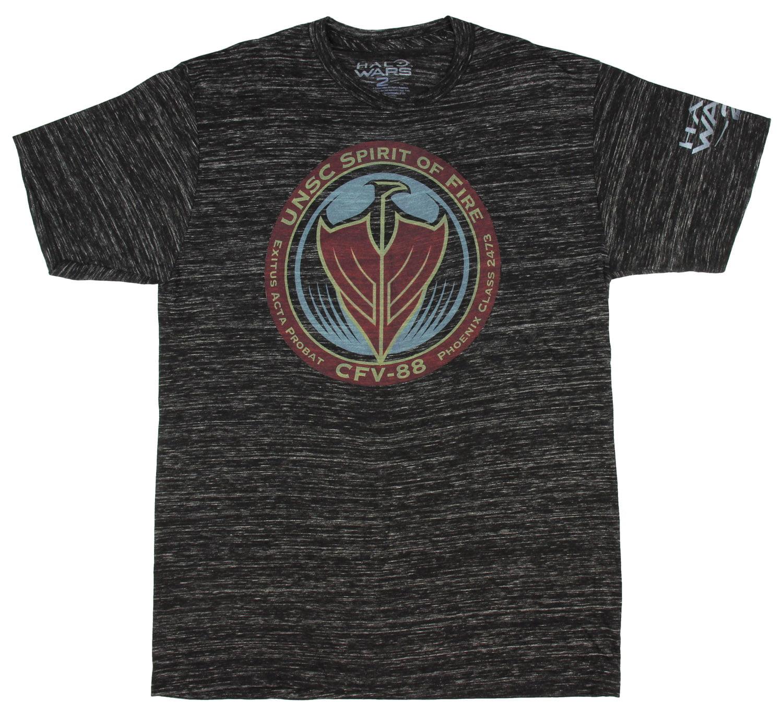Halo Wars 2 UNSC Spirit of Fire Black Snow Space Dye Mens T-shirt