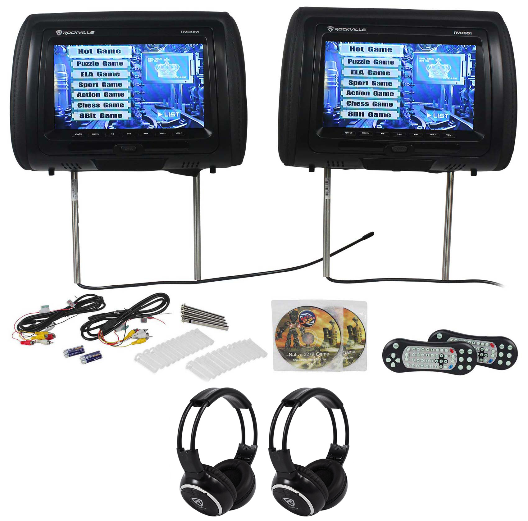 "Rockville RVD951-BK 9"" Black Dual DVD/HDMI Car Headrest Monitors+2 Headphones"