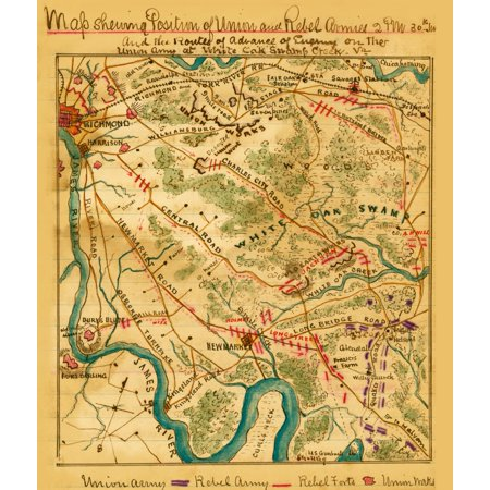 Position Union and Rebel armies 2 pm 30th June  and the routes of advance of enemy on the Union Army at White Oak Swamp Creek Va  area of Henrico County between Richmond and New Market in which occurr - Halloween Stores Richmond Va