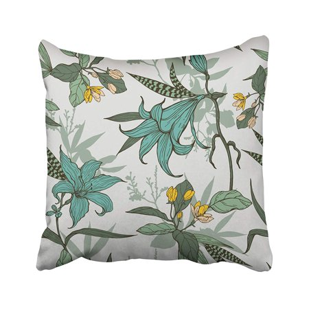 Blue Flowers Gray Leaves (ARHOME Green Abstract Blue and Yellow Flowers with Leaves Pattern on Gray Artistic Blossom Pillow Case Pillow Cover 16x16 inch Throw Pillow Covers)
