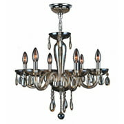 "Gatsby Collection 6 Light Chrome Finish and Golden Teak Blown Glass Chandelier 22"" D x 19"" H Medium"