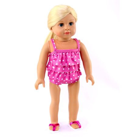 Pink Ruffle Bathing Suit- Fits 18