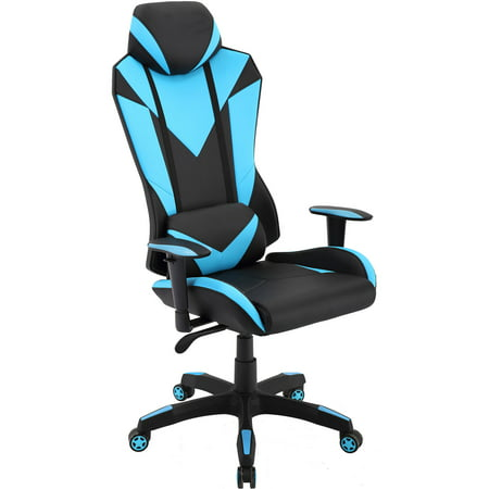 Miraculous Hanover Commando Ergonomic High Back Gaming Chair In Black And Electric Blue With Adjustable Gas Lift Seating And Lumbar Support Bralicious Painted Fabric Chair Ideas Braliciousco