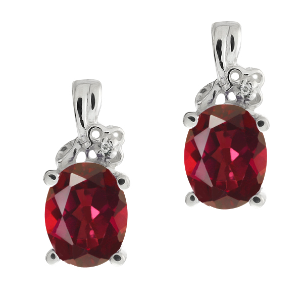 3.21 Ct Oval Red Mystic Topaz and White Topaz 18k White Gold Earrings