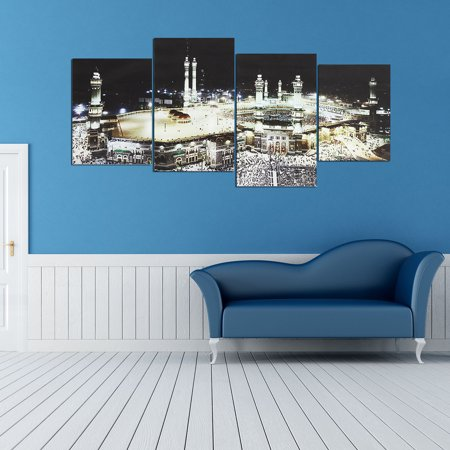 4 Panels Islam Mecca Holy City Night Muslims Canvas Picture Wall Art  - image 7 de 7