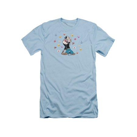 Popeye Cartoon Sailor Popeye & Olive & Love Symbols Adult Slim T-Shirt Tee