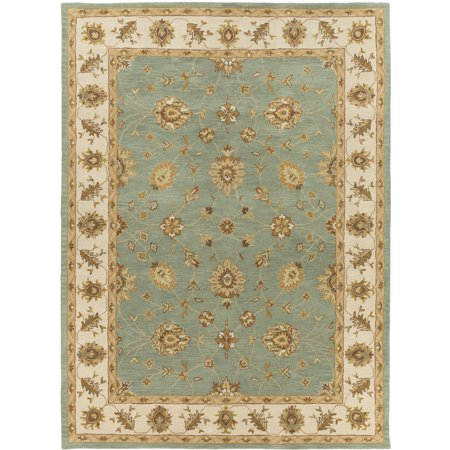 8' x 11' Persian Floral Green and Brown Rectangular Hand Tufted Wool Area Throw Rug Brown 8'0'x11'0' Rectangular Rug