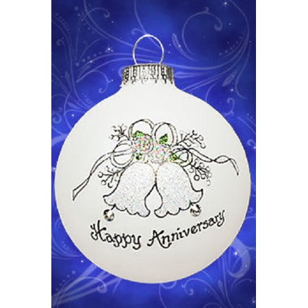 Happy Anniversary Bells Christmas Glass Ornament Made in USA