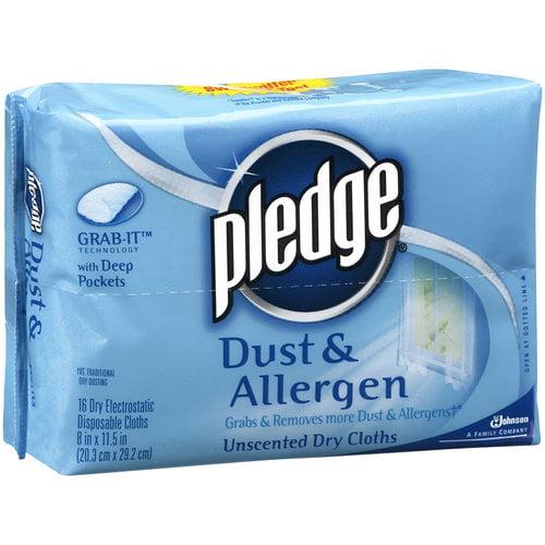 Pledge Dust & Allergen Unscented Dry Cloths, 16ct