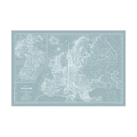 Map Of Europe On Aqua Art Print By Mitchell