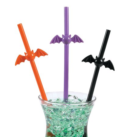 Fun Express - Plastic Bat Shaped Straws for Halloween - Party Supplies - Drinkware - Straws - Halloween - 12 Pieces