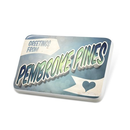 Porcelein Pin Greetings from Pembroke Pines, Vintage Postcard Lapel Badge – NEONBLOND (Party City Pembroke Pines)