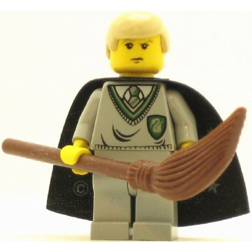 LEGO Minifigure - Harry Potter - DRACO MALFOY with Broom & Star Cape (Yellow Version)