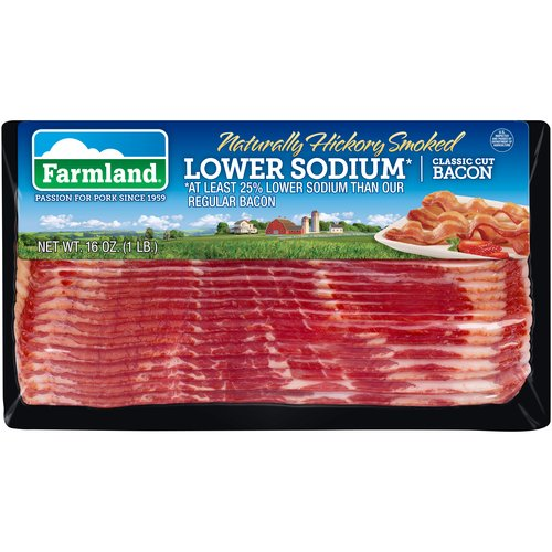Farmland Naturally Hickory Smoked Lower Sodium Classic Cut Bacon, 16 oz