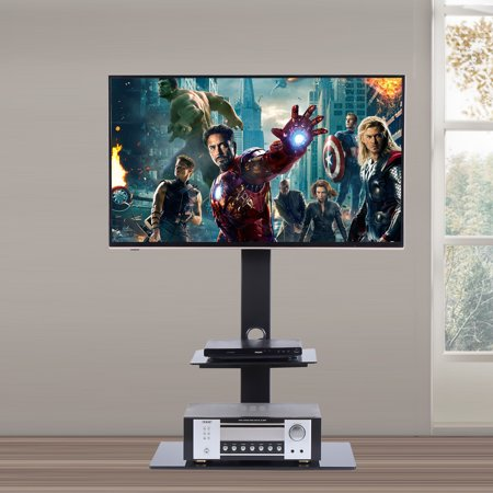 Audio Video Stands Mounts - RFIVER Universal Swivel TV Stand with mount ,Glass  TV stand with bracket ,TV mount Heigt adjustable for 32 to 65 inch TVs 2 Tier TF2001