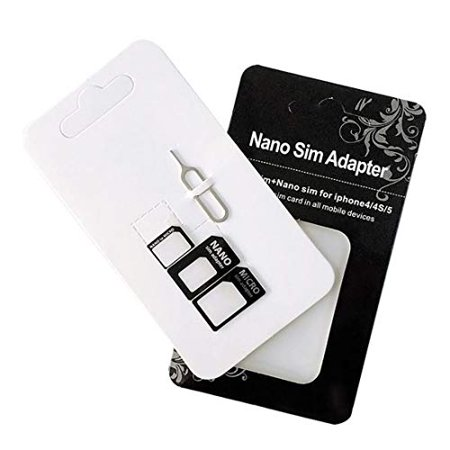 SIM Card Adapter Nano Micro Standard 4 in 1 Converter Kit with Steel Tray Eject Pin (2