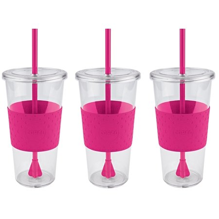 Copco Sierra On The Beach Tumbler for Cold Beverages With Spill Resistant Lid & Removable Straw - BPA Free Plastic 24 Oz - Pack Of 3 - Hot Pink Clear - Cup With Lid And Straw